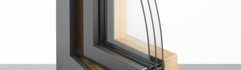 Musterwinkel in grau und Holz mit 3-fach Isolierung. Feigfotodesign