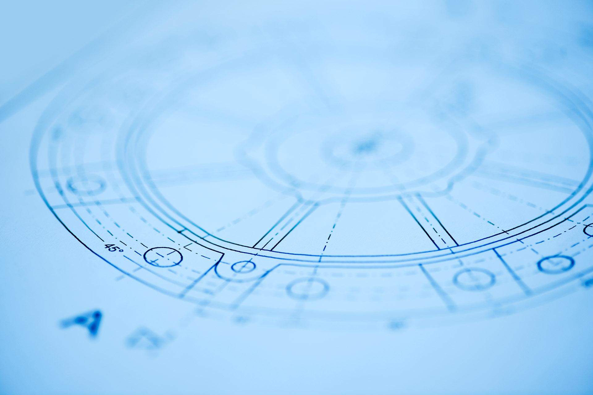 Detail Plan Zeichnung von Elektromotor. Feigfotodesign