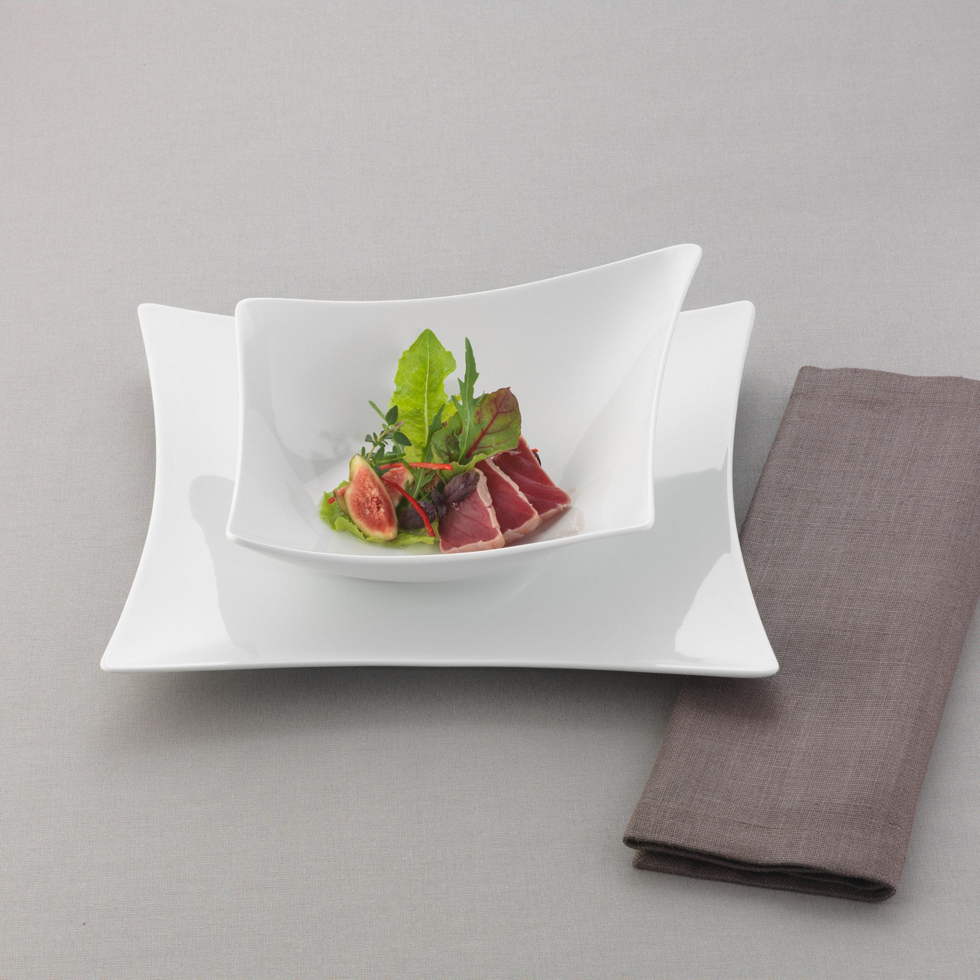 Werbefotografie Produktfotografie FotoStudio Oberfranken Teller der Serie Compliments by Bauscher mit Filet und Salat. Feigfotodesign
