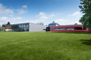 Architekturaufnahme der Mehrfachturnhalle Selb von außen, Architekt Kuchenreuther