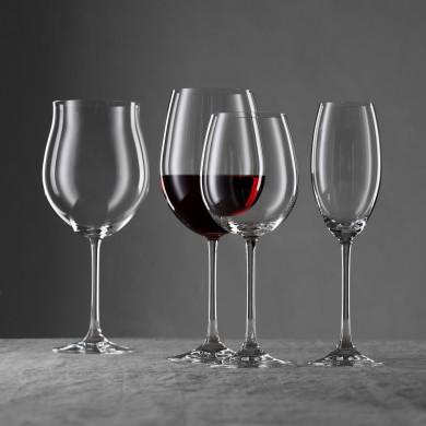 Werbefotografie Glaskollektion VIVENDI Weingläser vor grauem Hintergrund. Feigfotodesign