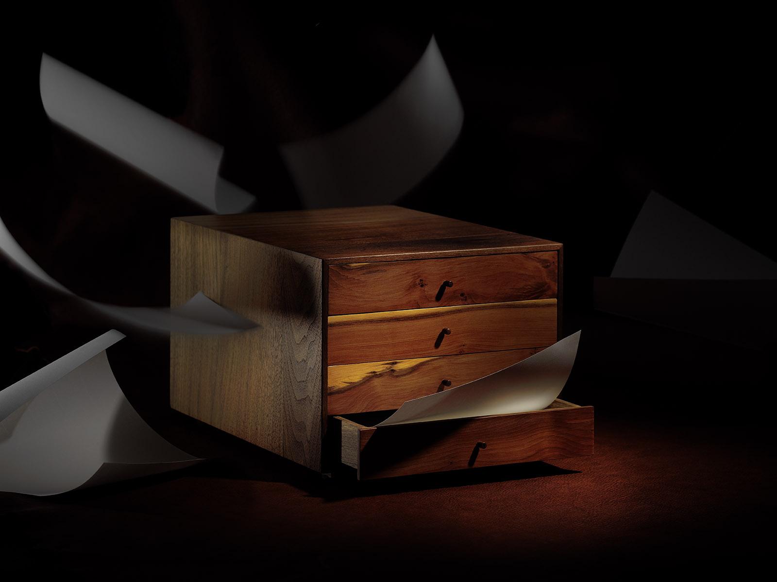 Werbefotografie Schubladenbox aus massiven holz